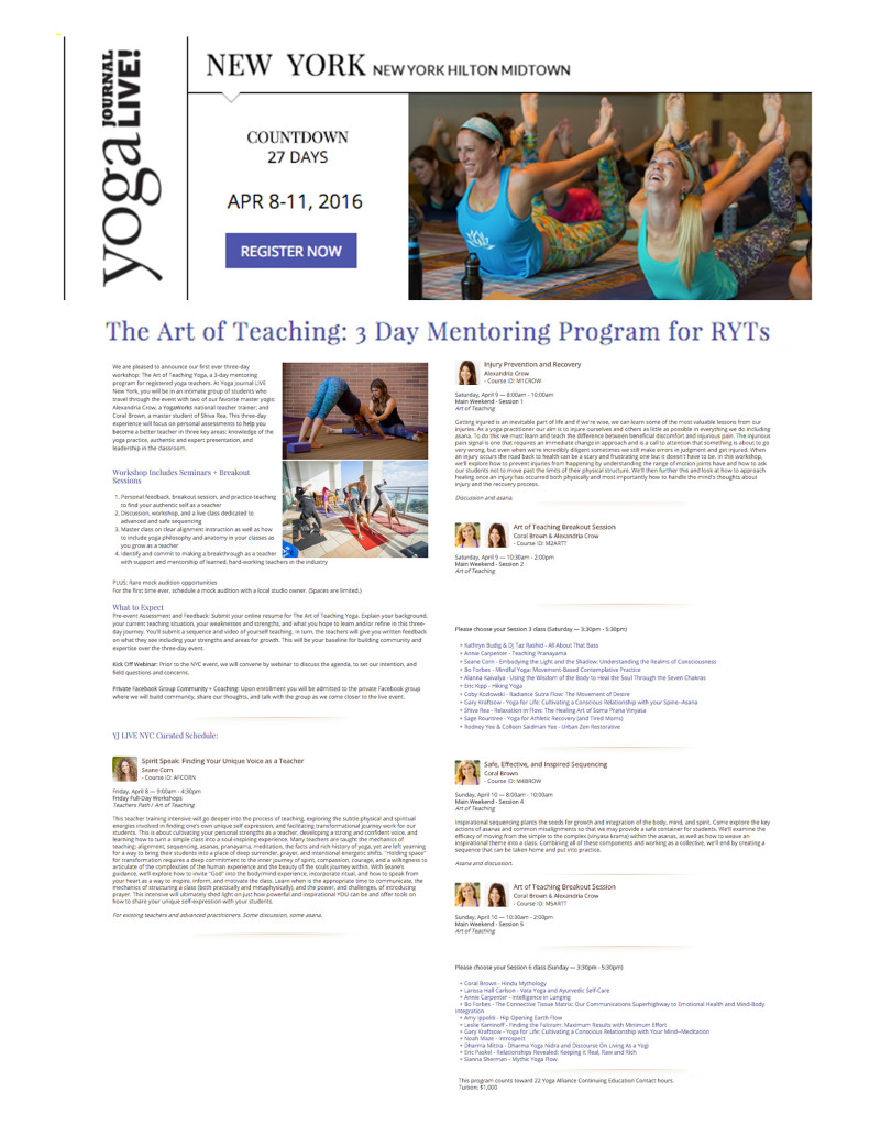 YJ LIVE Art of Teaching Yoga